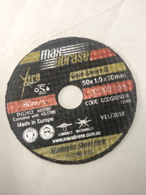 50mm x 1mm X 10mm metal cutting disc - each
