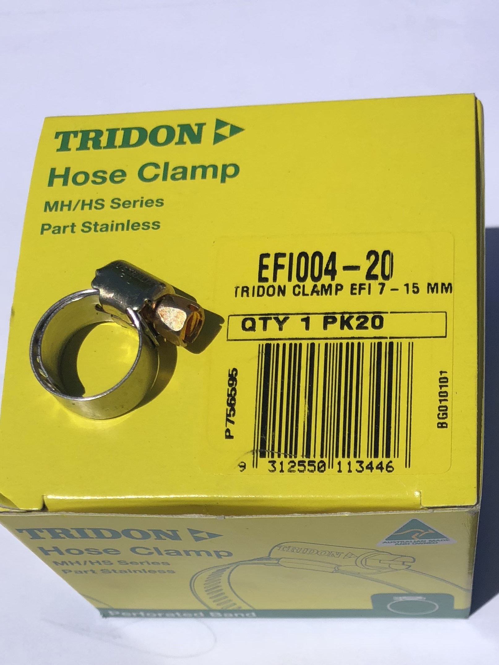 "Tridon Hose Clamps Fuel injected with steel band EFI4  EFI Fuel Hose 1/4""(6mm) Box of 20"