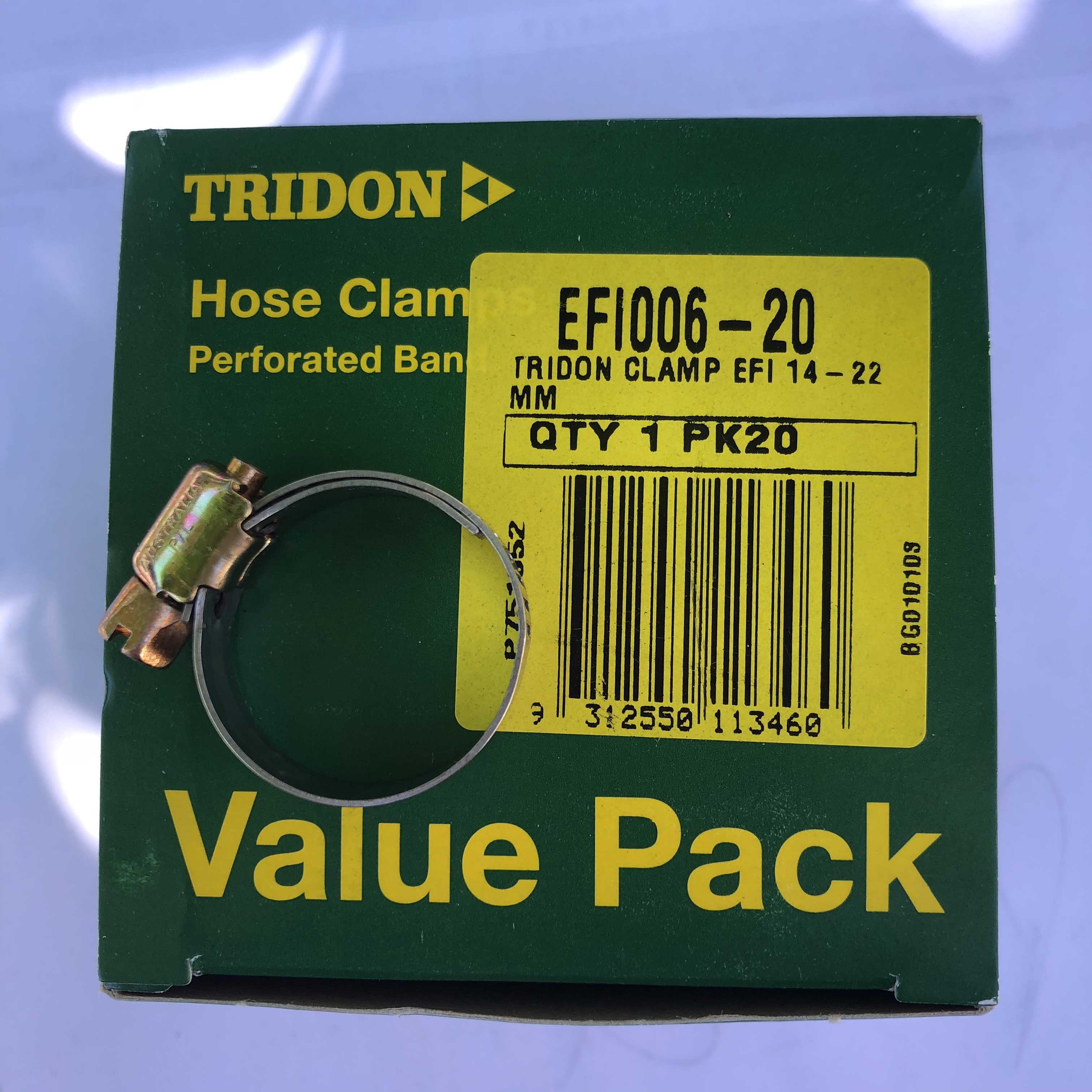 "Tridon Hose Clamps EFI6 EFI Fuel Hose 5/16"" with steel band Box of 20"